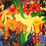 """Title: """"Psychedelic Flowers No. 1"""" Size: 0,80x0,60 m Material: Acryl on Canvas Price: € 680,-"""